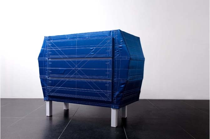 Blueprint studio minale maeda blueprint a flat pack chest of drawers suitable to our nomadic lifestyle made by adapting upholstery craft it consists of a silk cover on a wooden frame malvernweather Image collections
